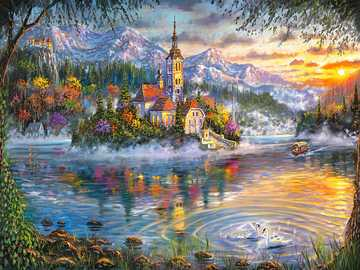 Painted landscape. - Painting. Jigsaw puzzle.