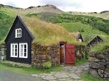 Houses with grassy roofs in Iceland - Houses with grassy roofs in Iceland