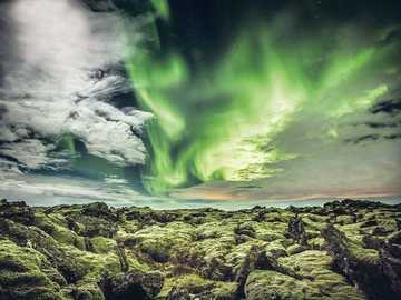 Unique landscape of Iceland in the northern lights - Unique landscape of Iceland in the northern lights