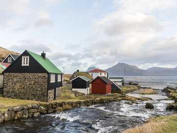 Domy na wybrzeżu na Wyspach Owczych - Domy na wybrzeżu na Wyspach Owczych