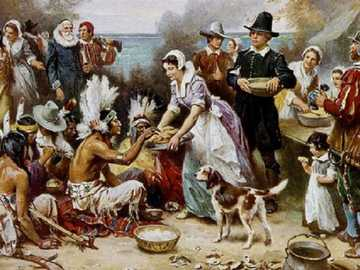 Painting. - Thanksgiving in the USA.