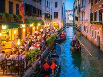 Gondolas in Venice - Gondolas in Venice in the evening