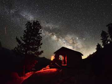 Milkyway Yosemite - silhouette photography of barn.