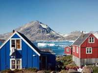 Colorful houses by the sea in Greenland - Colorful houses by the sea in Greenland