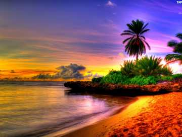 mer, plage, coucher de soleil - m .......................