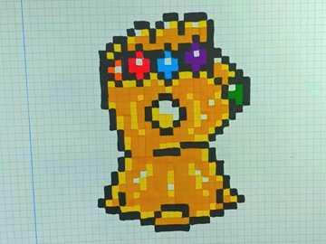 guante del infinito pixel - es de thanos , tiene las seis gemas del infinito