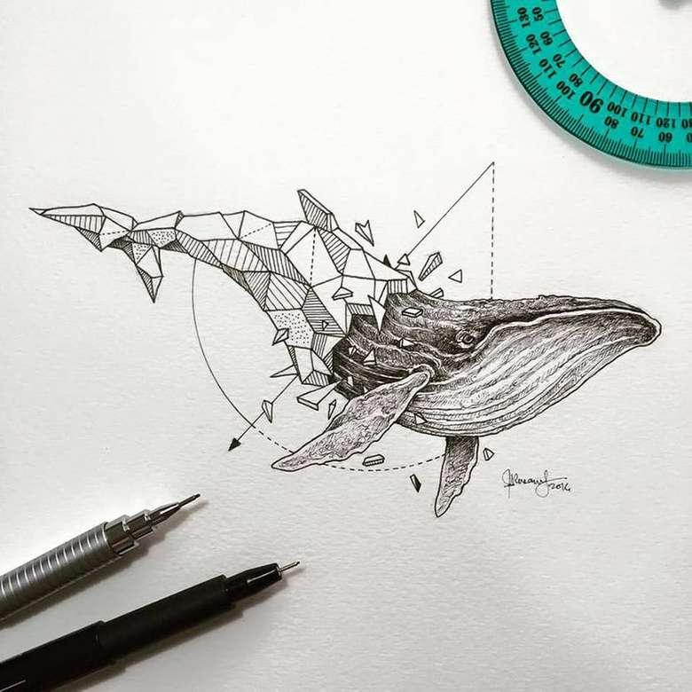 geometryczny wieloryb - GEOMETRYCZNY, zwierzę, art (6×6)
