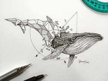 ballena geometrica - GEOMETRICO , animal ,arte