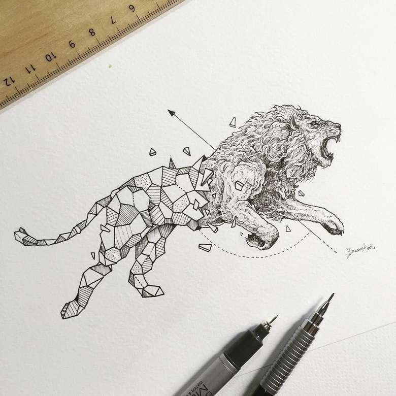 geometryczny lew - zwierzęcy, geometryczny, artystyczny (9×9)