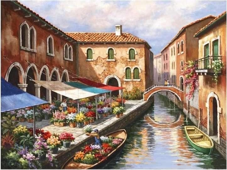 Targ kwiatowy w Wenecji. - Sztuka. Malarstwo. Puzzle.