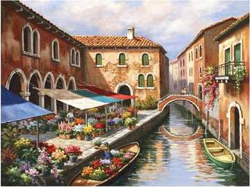 Flower market in Venice. - Art. Painting. Puzzle.