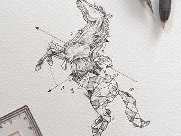 caballo geometrico - animal mitad geométrico,caballo