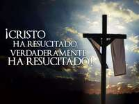 The cross of Jesus - Resurrection. Christ is risen, he is truly risen. Resurrection of Christ, He has risen, He has truly