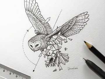 geometric owl - animal owl geometric