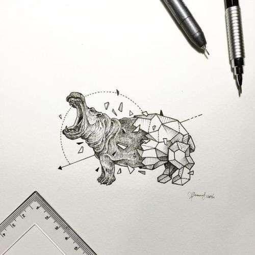hipopotam geometric - hipopotam animal geometric (3×3)