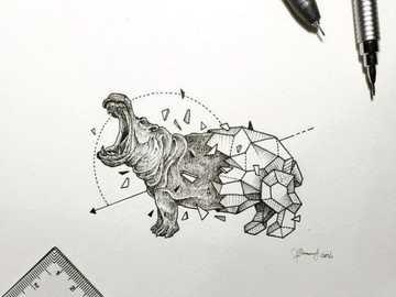 hipopótamo geométrico - geométrico , animal , hipopótamo