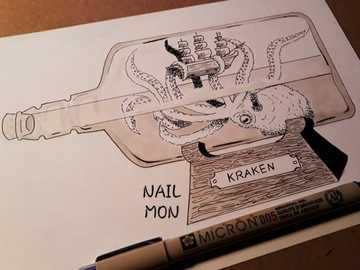 kraken in a bottle - mythological, animal, artistic