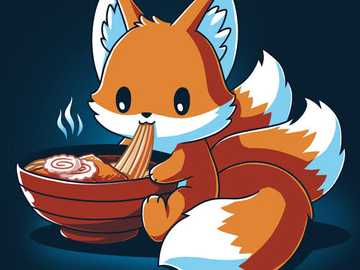 Kawaii fox - kawaii fox eating ramen