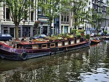 Łódź mieszkalna Amsterdam Holandia - Łódź mieszkalna Amsterdam Holandia