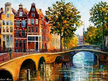 Amsterdam houses and canals paintings - Amsterdam houses and canals paintings