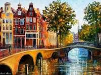 Σπίτια και κανάλια του Άμστερνταμ