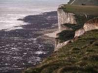 Falaises et rivage de Beachy Head. - falaise brune et verte à côté d'un plan d'eau pendant la journée. Beachy Head, Royaume