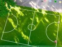 teren de fotbal verde și alb