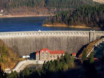 Der Damm in Pilchowice. - Der Damm in Pilchowice am Fluss Bóbr.