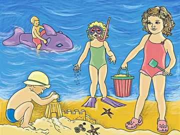 enfants jouant sur la plage - n ..........................
