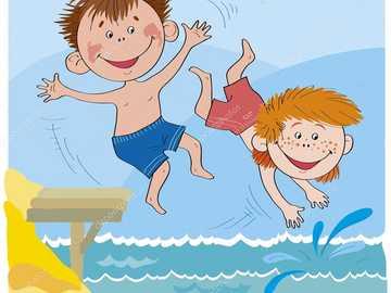 children bathing in the lake - n ..........................