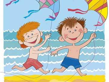 αγόρια με χαρταετούς στην παραλία - ν ..........................