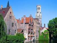 Bruges city with many canals in Belgium - Bruges city with many canals in Belgium
