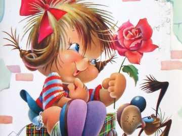 Glückliche Kindheit - Zeichnung des Mädchens, das Geschenk mit ihrem Haustier empfängt