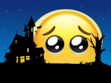 Schüchterner Emoji auf dem Mond - Online bearbeitet (kostenlos)