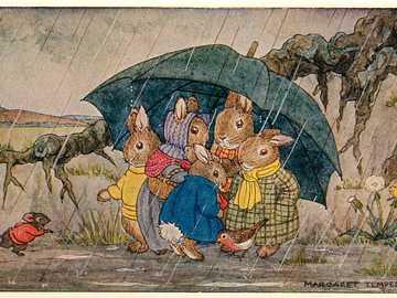Vintage Kaninchenfamilie - Fahrt an regnerischen Tagen