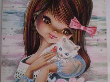 Mädchen mit Kätzchen - Mädchen mit Kätzchen Vintage-Stil