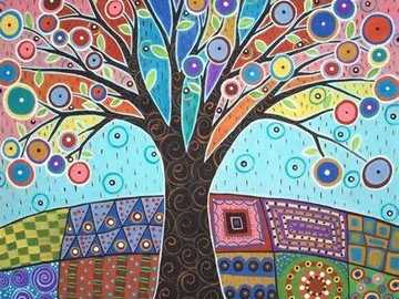 something naive - colorful funny little tree