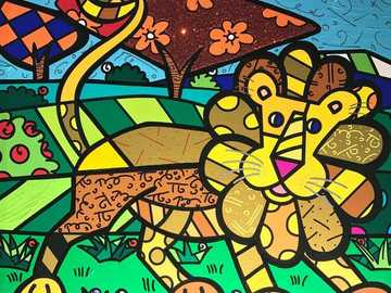 friendly lion - lion painting romero britto