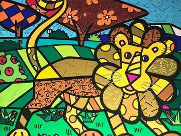 leone amichevole - leone dipinto romero britto