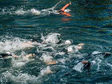Nageurs - les gens nagent pendant la journée. Bilbao, Espagne