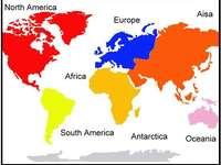 Puzzle di continenti - Unisci i pezzi per creare una mappa globale dei continenti.