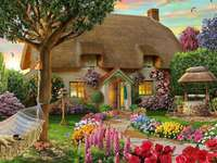 A country house with a garden full of flowers - A country house with a garden full of flowers