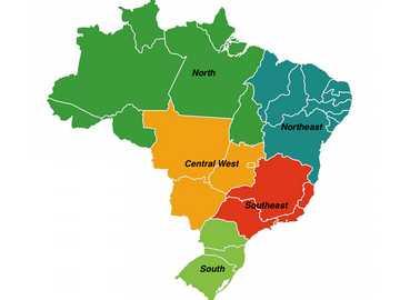 Οι 5 περιφέρειες Brazilan - προσπαθήστε να φτιάξετε έναν χάρτη, να περιγράψετε την