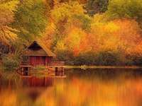 Autumn at the lake with boathouse - Autumn at the lake with boathouse