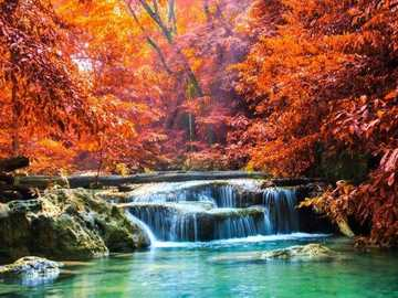 Autumn landscape with a waterfall - Autumn landscape with a waterfall