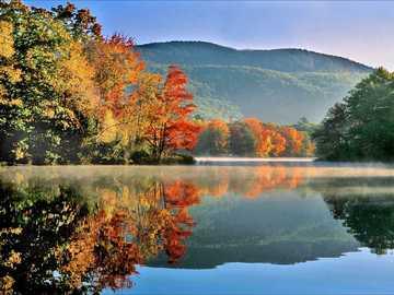 Autumn landscape in New England USA - Autumn landscape in New England USA