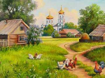 Russian countryside. - Russian village in painting.