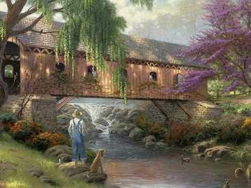 Most přes řeku. - Malířské puzzle ...