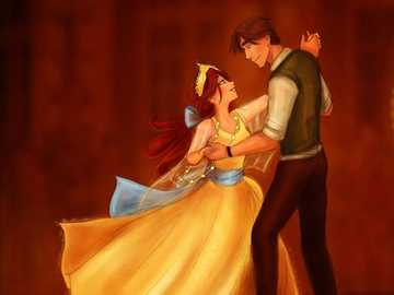 Anastasia und Dimitri tanzen - Anastasia in ihrem goldenen Kleid mit Dimitri tanzen