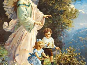 Photos d'ange gardien avec des enfants jouant près du ruisseau - Photos d'ange gardien avec des enfants jouant près du ruisseau